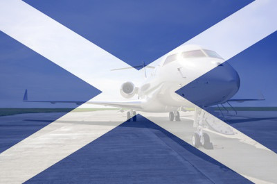 business jet parked at scottish airport