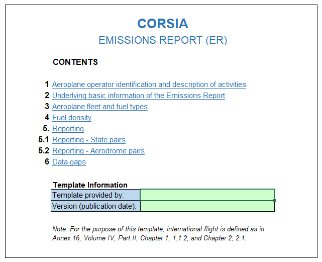 corsia emissions report template