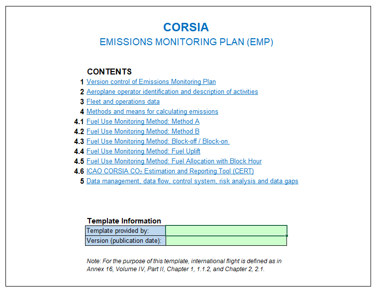 corsia monitoring plan template
